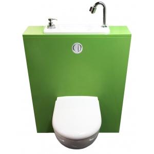 Wc suspendu geberit avec lave main compact int gr wici next - Toilette avec lave main integre castorama ...