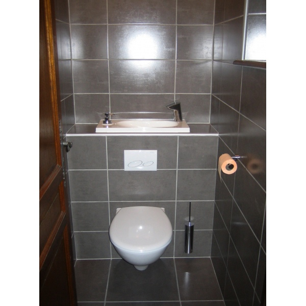 Wc suspendu design avec lave main wici bati - Toilette suspendu design ...