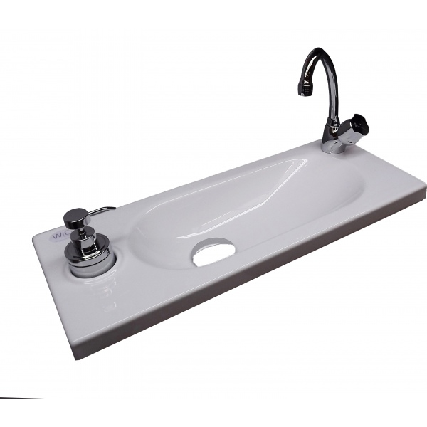 WiCi Boxi, wash basin incorporated in wall-mounted WC