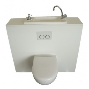 WiCi Boxi, hand-wash basin incorporated in wall-hung toilet