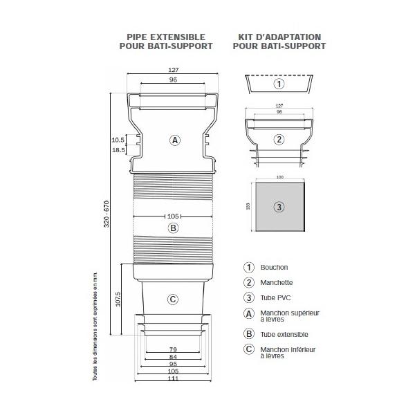 pipe d 39 vacuation souple ceta multibati pour wc suspendu wici concept. Black Bedroom Furniture Sets. Home Design Ideas