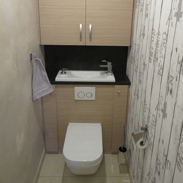 wc suspendu design avec lave main wici bati. Black Bedroom Furniture Sets. Home Design Ideas