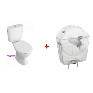 Universal toilet tank with toilet pack with horizontal outlet