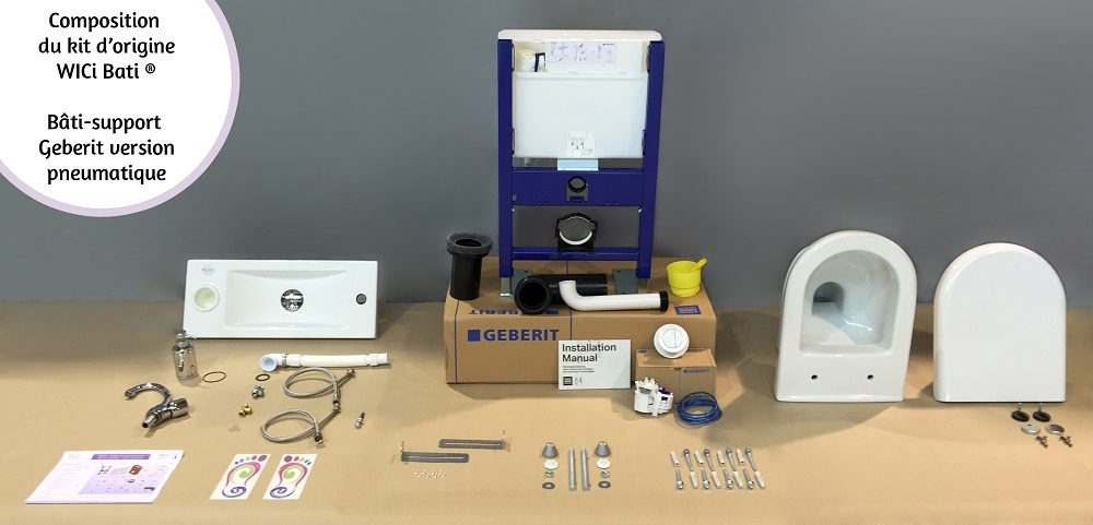 Composition kit WC suspendu avec lave-mains WiCi Bati - bâti-support Geberit version mécanique