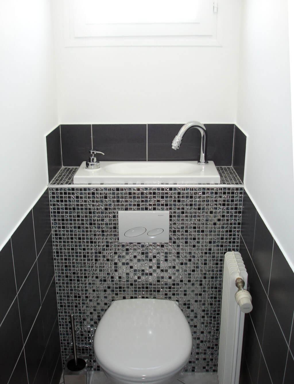 Wc suspendu avec vasque galerie wici bati - Salle de bain cuivre ...