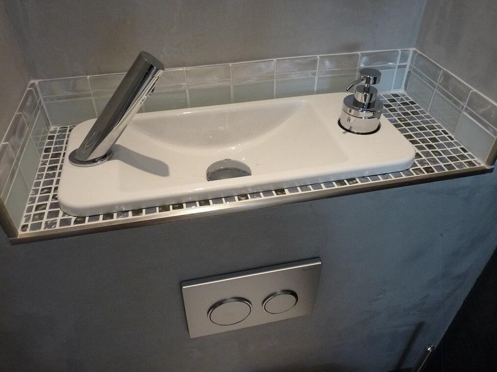 Wc suspendu avec lave mains compact galerie wici next - Wc avec douchette integree ...
