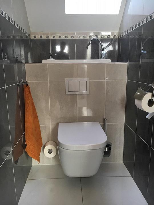 Wc suspendu avec vasque galerie wici bati - Amenagement wc avec lave mains ...