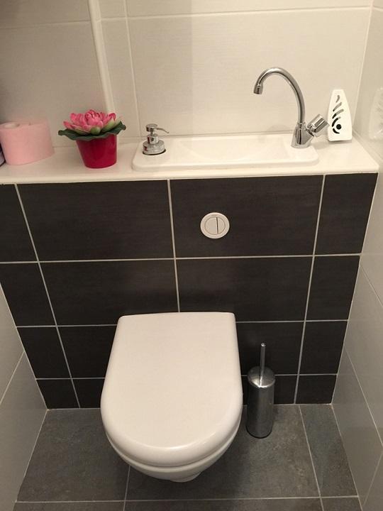 Wc suspendu avec lave mains compact galerie wici next - Toilette avec lave main integre castorama ...