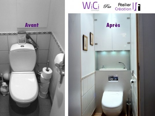 Wc gain de place wici concept - Amenagement wc avec lave mains ...