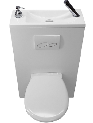Configurer son wc suspendu avec lave mains wici concept - Amenagement wc avec lave mains ...