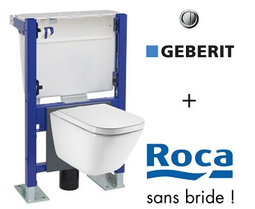 WC suspendu bâti universel Geberit avec cuvette Roca the Gap Rimless sans bride