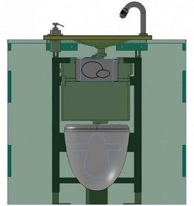 habillages pour wc suspendus geberit avec lave mains int gr. Black Bedroom Furniture Sets. Home Design Ideas