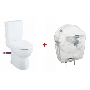 Universal toilet tank with compact toilet bowl