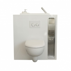 Combo built-in storage paper unit and toilet brush holder for wall-hung toilets