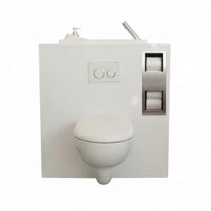 Built-in toilet paper storage container for wall-hung toilets