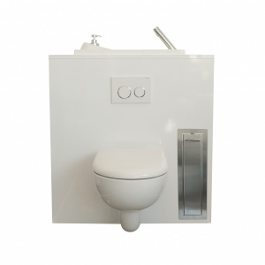 Integrated toilet brush holder for wall-hung toilets