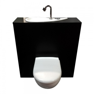 Geberit wall-hung toilet with large hand washbasin - standard configuration