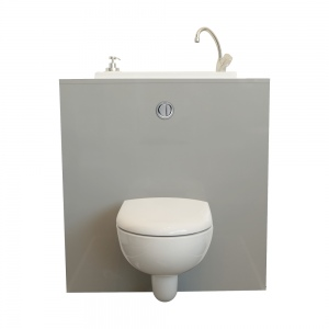 Wallhung toilet with WiCi Boxi washbasin Mineral WiCi Concept