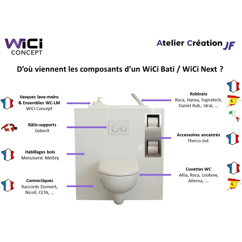 Support Geberit Wc Suspendu wand-wc mit wici bati waschbecken – modell miami | wici concept