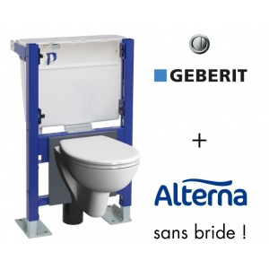 Pack bati support geberit et cuvette wc compacte sans bride - Wc suspendu geberit prix ...