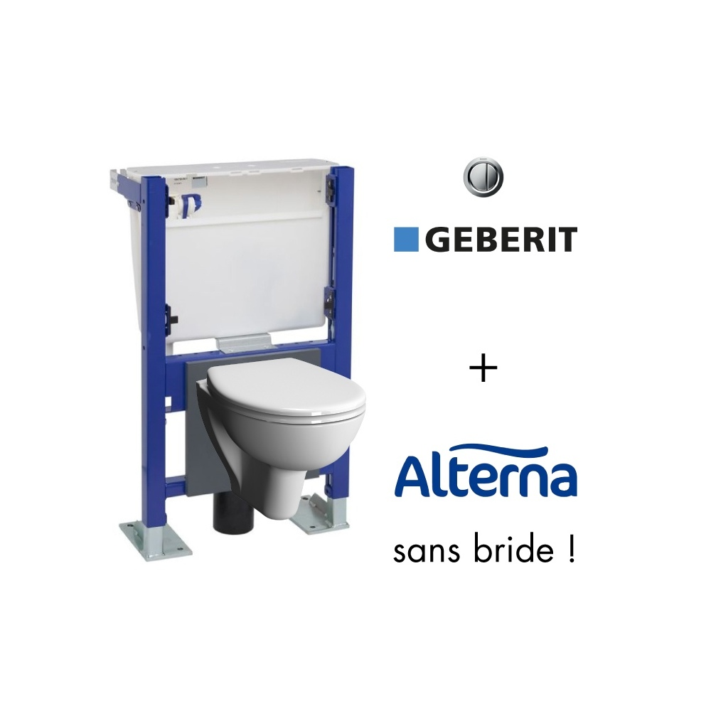 Wc Suspendu Grohe Dimension pack bati-support geberit et cuvette wc compacte sans bride