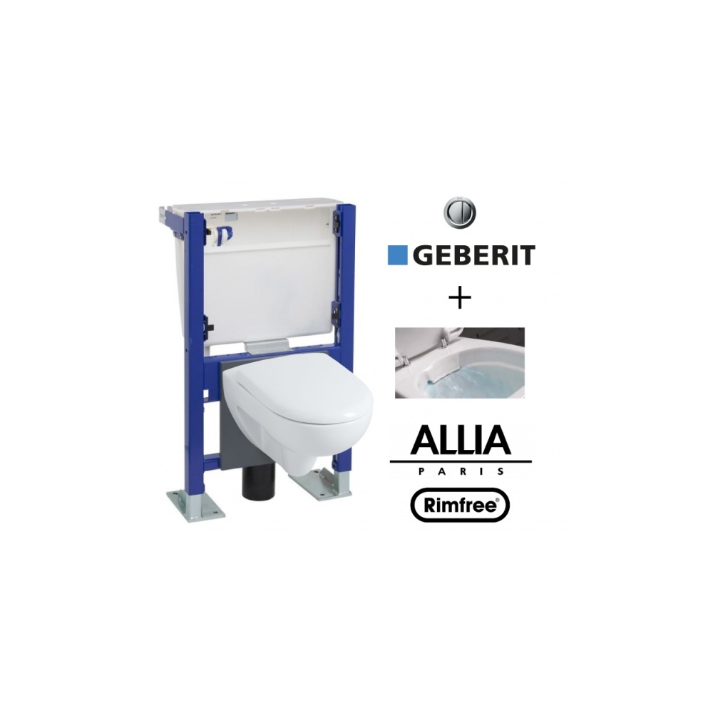Wc suspendu b ti universel geberit avec cuvette alterna for Pose wc suspendu geberit