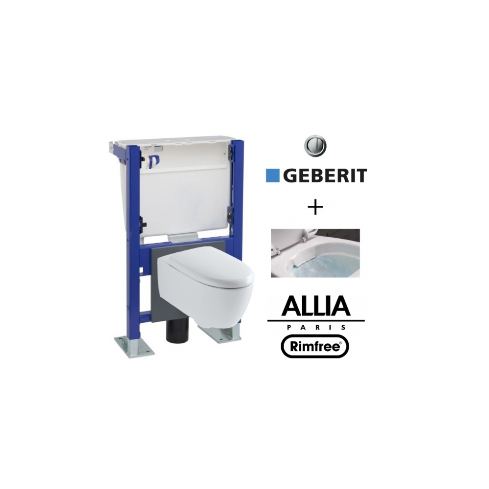 Suspended Toilet With Geberit Wall Frame And Allia Lovely Rimfree