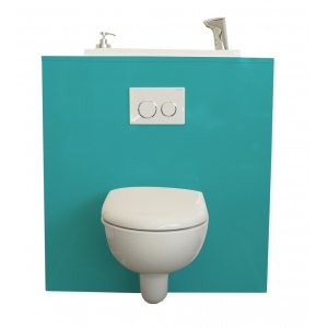 WC suspendu Geberit avec lave-main intégré WiCi Bati, modèle Lagoon
