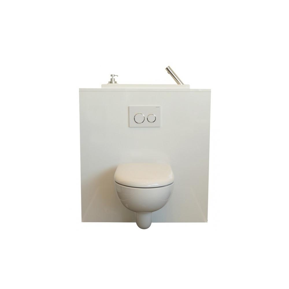 wc suspendu geberit avec grand lave mains et robinet automatique. Black Bedroom Furniture Sets. Home Design Ideas