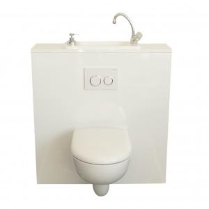 WiCi Next Kompaktes Handwaschbecken auf Geberit Wand-WC integriert