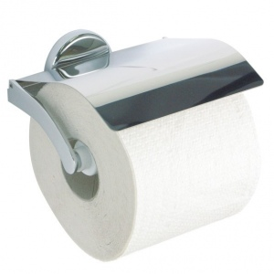 Toilet paper holder with a lid