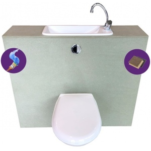 WiCi First, affordable hand-wash basin incorporated in wall-hung toilet