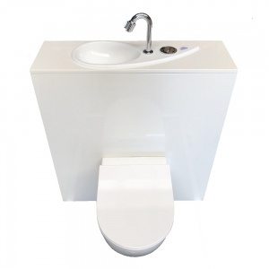 WiCi Free Flush, hand-wash sink incorporated in Geberit wall-hung toilet