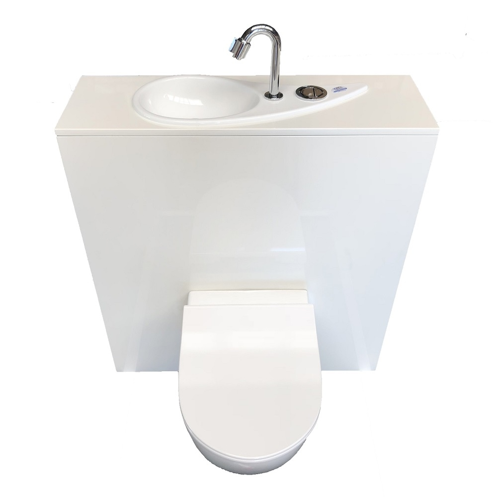 Toilette Gain De Place wici free flush, wc suspendu geberit avec lave-mains design