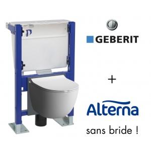 Pack WC suspendu bati universel Geberit avec cuvette Rimfree sans bride