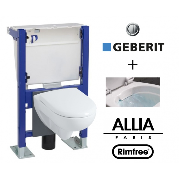 Pack wc suspendu b ti avec cuvette allia prima rimfree - Wc suspendu sans bride ...