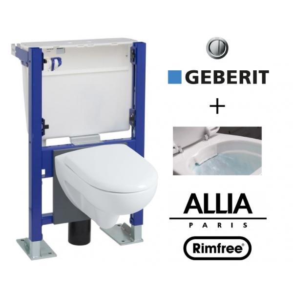 Geberit wall frame and allia prima rimfree toilet bowl - Cuvette wc suspendu geberit ...