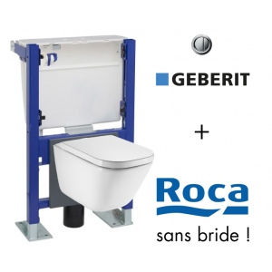 Pack WC suspendu bati universel Geberit avec cuvette Roca The Gap Rimless sans bride