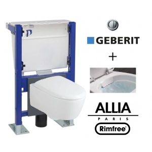 Pack WC suspendu bati universel Geberit avec cuvette Allia Lovely Rimfree carénée sans bride