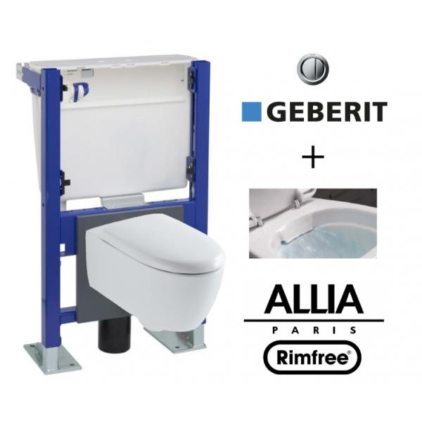 Geberit wall frame and allia lovely rimfree compact wc bowl - Pack toilette suspendu ...