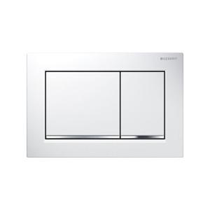 White / Bright chrome Geberit OMEGA 30 flush control plate