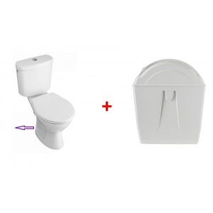 Rotary toilet flush with toilet pack with horizontal outlet