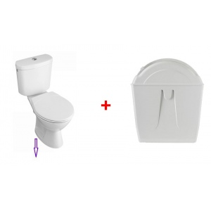 Rotary toilet flush with toilet pack with vertical outlet