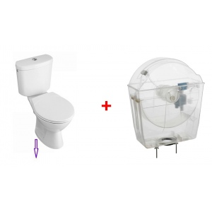Water-saving toilet tank with toilet pack, vertical outlet