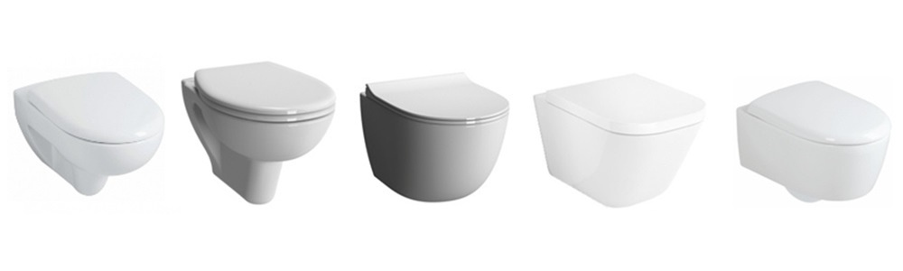 Wall mounted toilet bowls