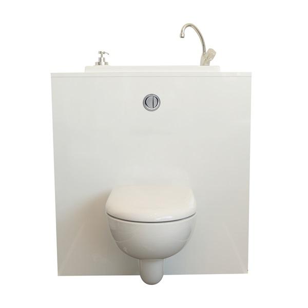 wc suspendu geberit avec cuvette sans bride et lave mains compact. Black Bedroom Furniture Sets. Home Design Ideas