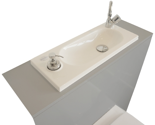 Geberit wall-hung toilet with WiCi Boxi integrated washbasin - Mineral