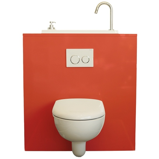 Geberit wall-hung toilet with WiCI Boxi washbasin - Lipstick