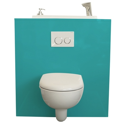 Geberit wall-hung toilet with WiCi Boxi integrated washbasin - Lagoon