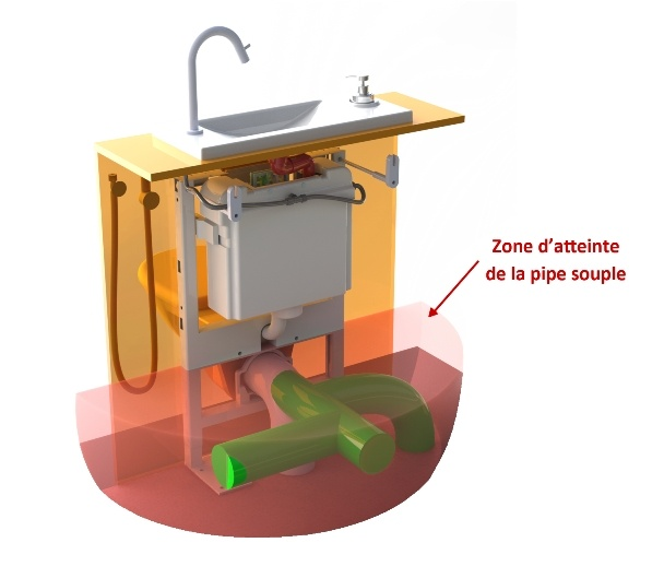 Rendu 3D pipe souple Multibati sur WC wuspendu avec lave-mains WiCi Bati